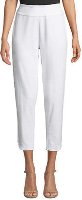 Joan Vass Plus Size Stretch-Interlock Cropped Pants with Notched Hem