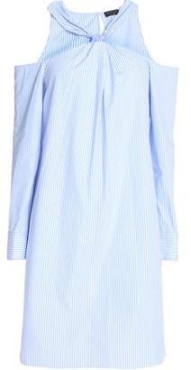 Rag & Bone Cold-Shoulder Striped Cotton-Poplin Mini Dress