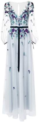 Marchesa embroidered sheer sleeve dress