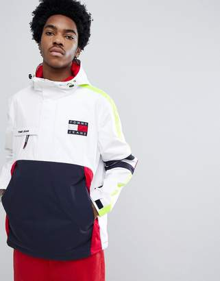 Tommy Jeans 90s Sailing Capsule Overhead Hooded Sailing Jacket in White/Navy/Red
