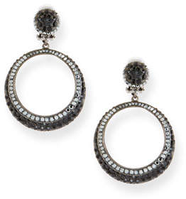 Jose & Maria Barrera Hematite Crystal Hoop Drop Earrings