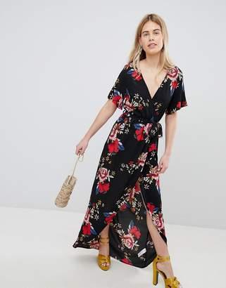 New Look Printed Wrap Short Sleeve Midi Dress