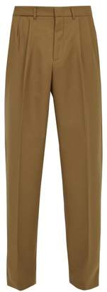 Gucci Mid Rise Pleated Twill Trousers - Mens - Brown