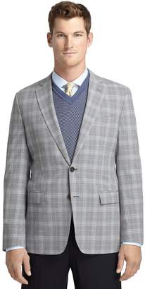 Brooks Brothers Fitzgerald Fit Grey Plaid with Blue Deco Sport Coat