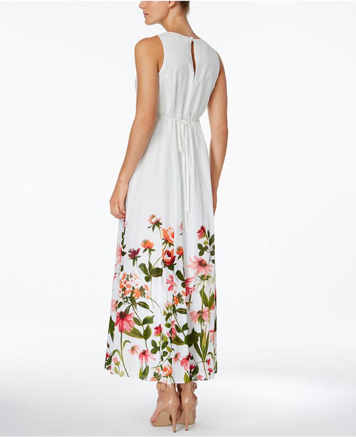 Calvin Klein Cotton Floral-Border Surplice Maxi Dress 2