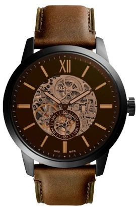 Fossil Townsman Automatic Leather Strap Watch, 48Mm $245 thestylecure.com