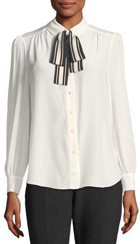 Kate Spade New York Long-Sleeve Silk Button-Down Shirt W/ Striped Tie