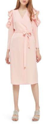 Women's Topshop Ruffle Cold Shoulder Wrap Dress $90 thestylecure.com