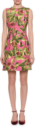 Dolce & Gabbana Sleeveless A-Line Fig-Print Brocade Dress