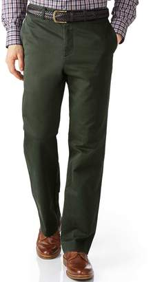 Charles Tyrwhitt Dark Green Classic Fit Flat Front Washed Cotton Chino Pants Size W32 L30