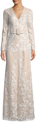 Badgley Mischka Embroidered Long-Sleeve Belted Gown
