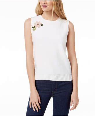 525 America Petite Cotton Blossom Floral-Applique Knit Sleeveless Top