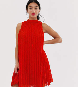 76bd4e49904f Asos DESIGN Petite high neck pleated broderie mini swing dress