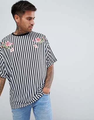 Asos Design DESIGN vertical striped oversized t-shirt with floral print