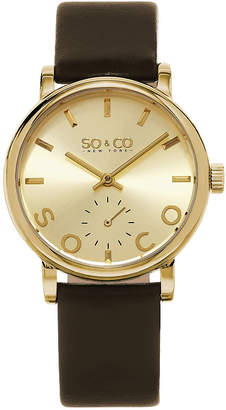 Co SO & NY Womens Madison Leather Casual Gold-Tone Dial With Seconds Subdial Quartz Watch J158P69