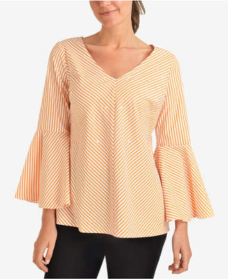 NY Collection Striped Bell-Sleeve Embellished Blouse
