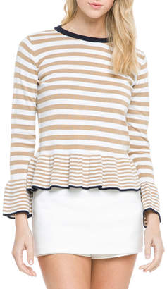 ENGLISH FACTORY Crewneck Striped-Knit Peplum Top