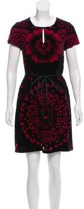 Vivienne Tam Velvet Burnout Mini Dress