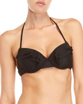 Kate Spade Black Ruffle Underwire Bikini Top
