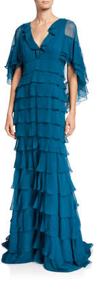 J. Mendel Ruffle-Tiered Chiffon Gown