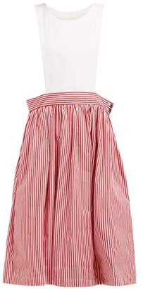 Comme des Garcons Striped Cotton Pinafore Dress - Womens - Red White
