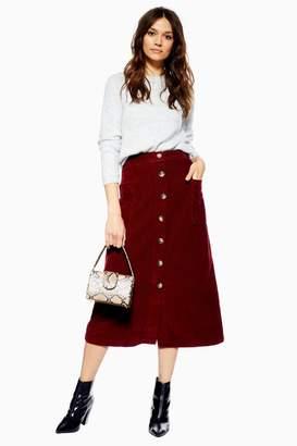 Topshop Corduroy Button Midi Skirt