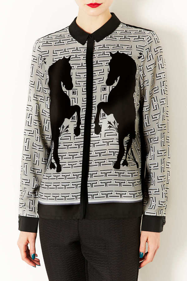 Topshop Horse Placement Print Shirt