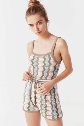 Urban Outfitters Zig-Zag Crochet Drawstring Romper