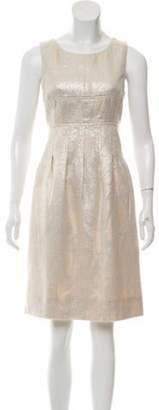 Lela Rose Metallic Pleated Dress Champagne Metallic Pleated Dress