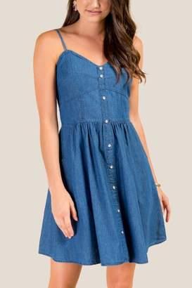 francesca's Jessi Sweetheart Chambray Dress - Dark Chambray