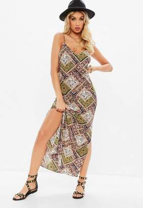Missguided Orange Paisley Strappy Plunge Maxi Dress