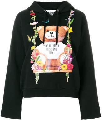 Moschino floral teddy bear motif hoodie