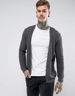 Asos DESIGN Lightweight Cable Cardigan In Charcoal