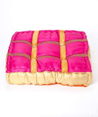 Bacati Tangerine and Fuschia Floor Pillow 25-Inch Square