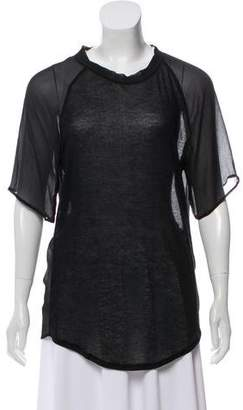 Clu Sheer Accented Short Sleeve Top