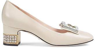 Gucci Women's Embellished-Heel Leather Pumps - Ivorybone