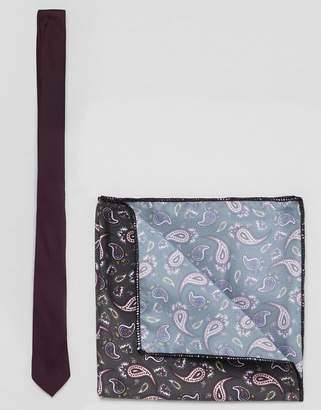 Asos DESIGN Burgundy Tie And Paisley Pocket Square Pack