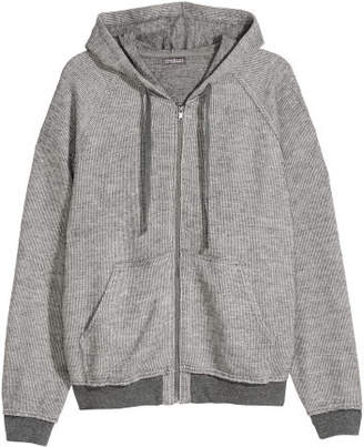 H&M Textured-knit Hooded Jacket - Gray