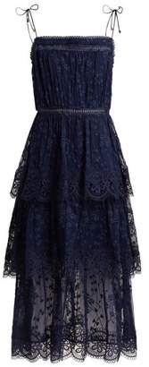 Zimmermann Castile Tiered Embroidered Silk Chiffon Dress - Womens - Navy