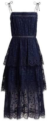 Zimmermann Castile Tiered Embroidered Silk Chiffon Dress - Womens - Navy