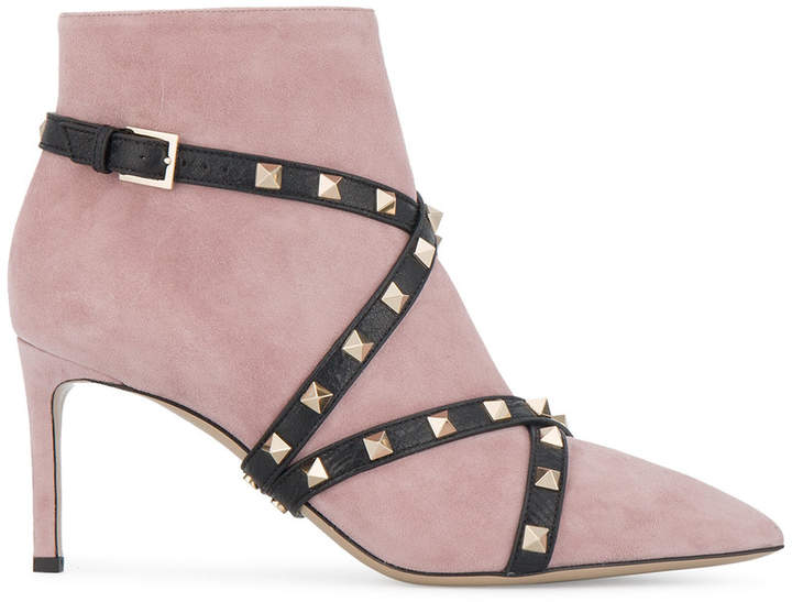 Valentino Suede studded strap ankle boots