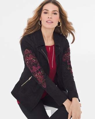 Chico's Chicos Sueded Embroidered-Sleeve Moto Jacket