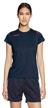 Hummel (ヒュンメル) - (ヒュンメル) hummel サッカーウェア ワンポイントドライTシャツ HLY2072 [レディース] HLY2072 7024 ネイビー×S.ピンク S