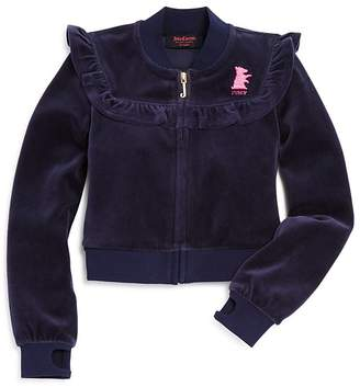 Juicy Couture Black Label Girls' Velour Ruffled Westwood Jacket - Big Kid