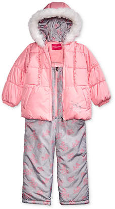 London Fog Toddler Girls Hooded Unicorn Snowsuit with Faux-Fur Trim