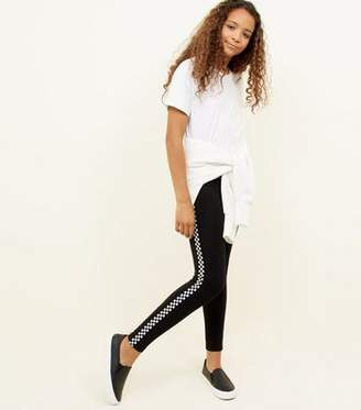 New Look Teens Black Checkered Side Stripe Leggings