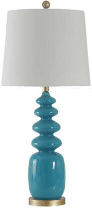 Stylecraft Style Craft 32In Blue Painted Glass Lamp