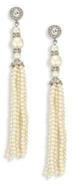 Kenneth Jay Lane Crystal& Faux-Pearl Tassel Earrings