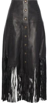 Haute Hippie Fringe-Trimmed Leather Midi Skirt