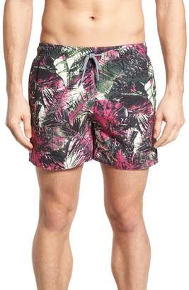 Ted Baker Spencer Tropical Leaf Print Swim Trunks